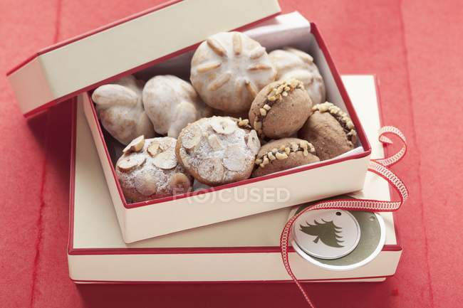 Assorted Christmas cookies in a box — Stock Photo