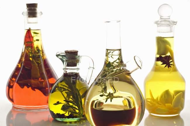 Oli di oliva assortiti con erbe e spezie su priorità bassa bianca — Foto stock