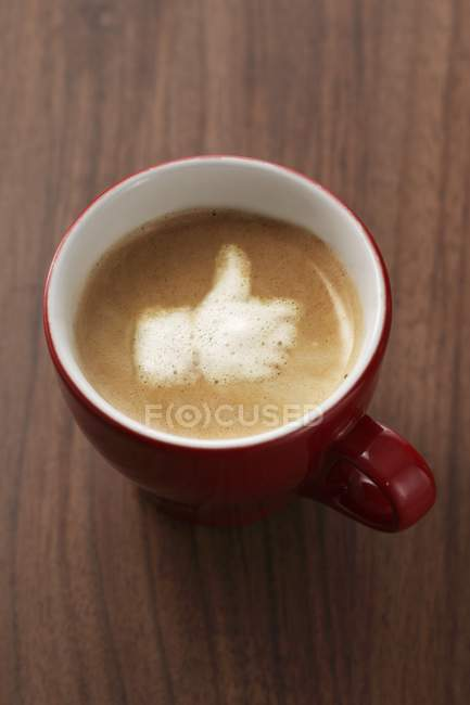 Closeup view of Capuccino with the Like symbol — Stock Photo