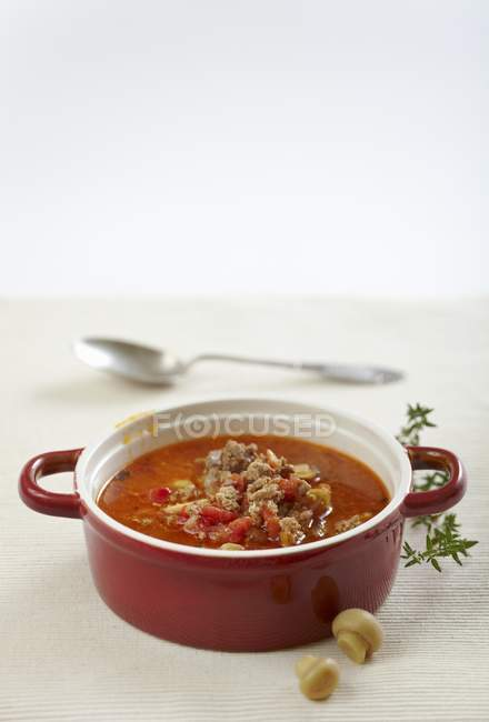Ground beef soup — Stock Photo