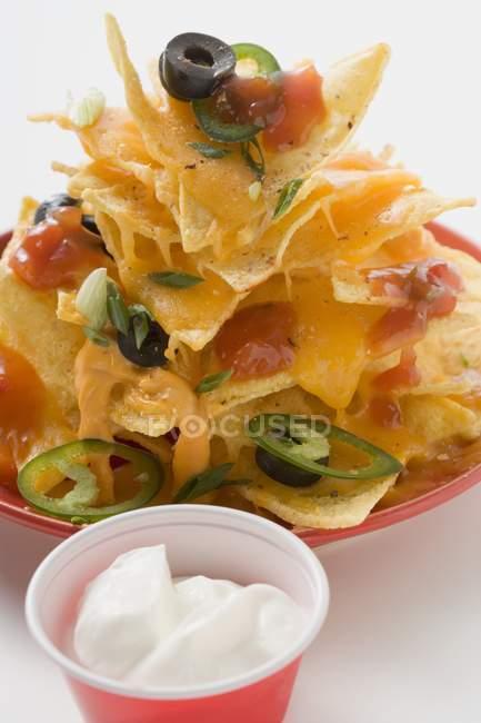 Salsa de tomate y crema agria - foto de stock