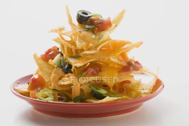 Aros de guindilla y salsa de tomate en placa - foto de stock