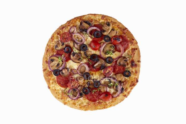 Pizza with mushrooms and Pepperoni — Stock Photo