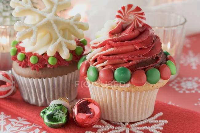 Decoração de cupcakes para o Natal — Fotografia de Stock