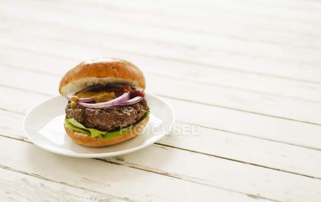 Hamburger sur plaque blanche — Photo de stock