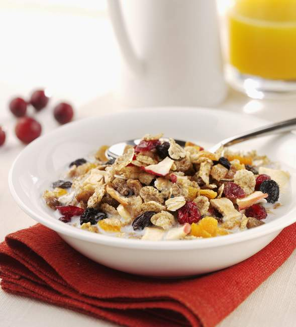 Muesli with milk and dried berries — Stock Photo