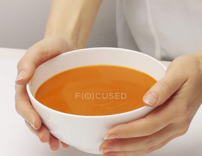 Mãos segurando tigela de sopa de tomate — Fotografia de Stock