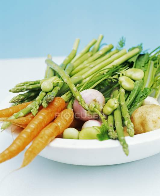 Bowl filled with spring vegetables — Stock Photo
