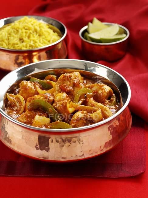 Jalfrezi-Curry mit Reis — Stockfoto