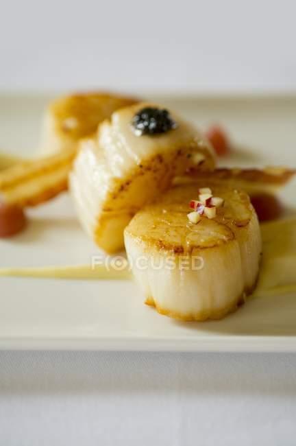 Primo piano vista di capesante fritte con caviale su superficie luminosa — Foto stock