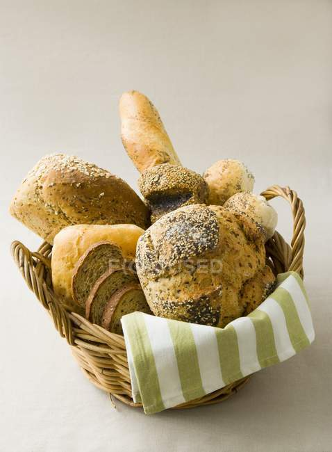 Assorted breads and rolls — Stock Photo