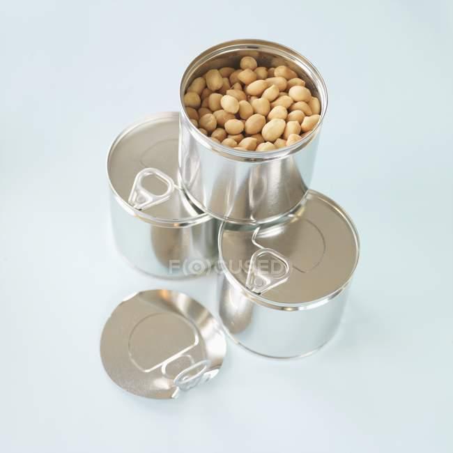 Erdnüsse in Metalldosen — Stockfoto
