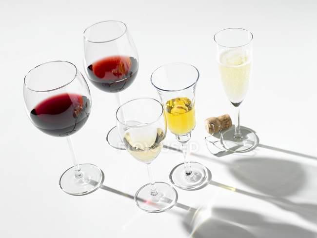 Различные вина в очках — стоковое фото