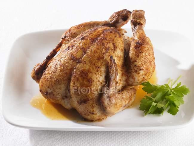 Pollo asado entero - foto de stock