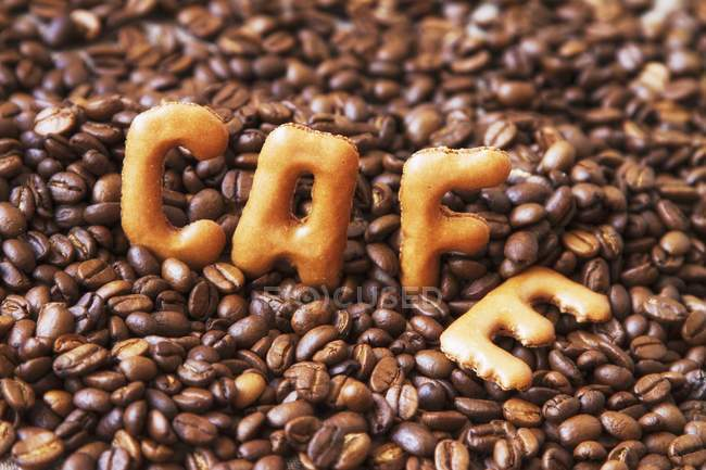 Word 'cafe' written of beans — Stock Photo