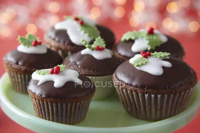 Chocolate cupcakes de Natal — Fotografia de Stock