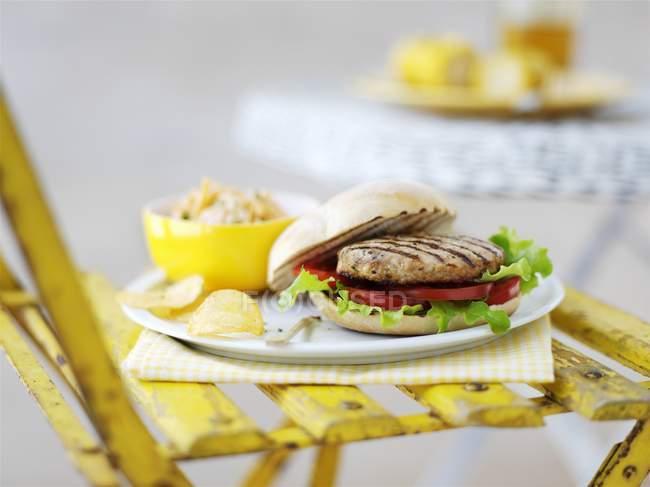 Hamburger de dinde grillée — Photo de stock