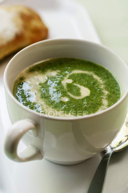 Stinging nettle soup with sour cream — Stock Photo
