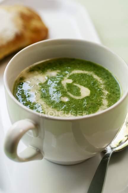 Brennessel-Suppe mit Sauerrahm — Stockfoto