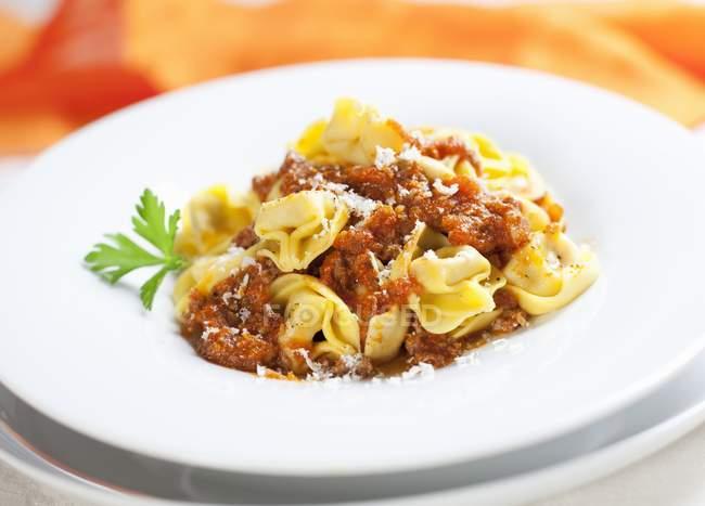 Tortellini bolognese pasta — Stock Photo