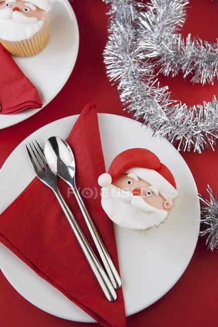 Christmas cupcake on plate — Stock Photo