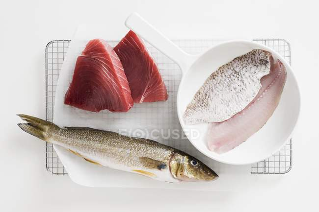 Whole and sliced fish on grill rack — Stock Photo