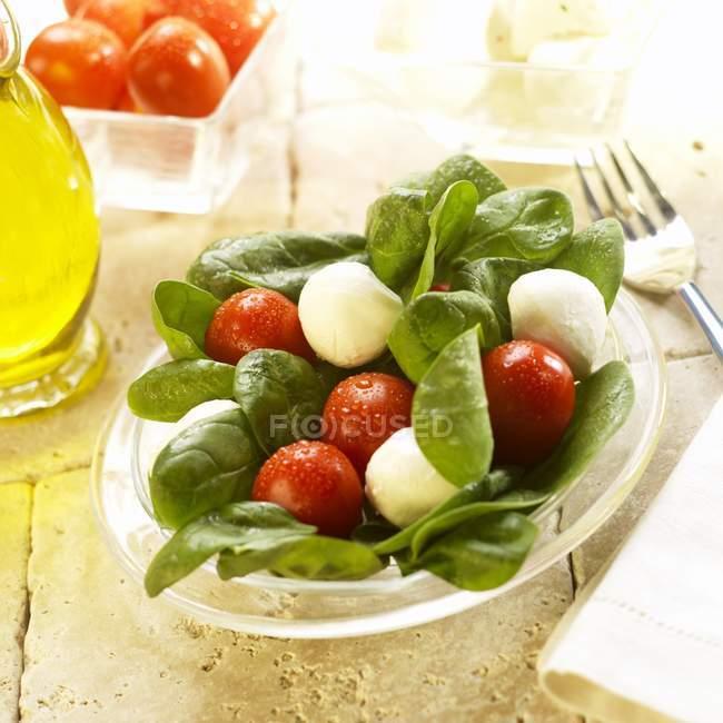 Салат из шпината с моцареллой шарики — стоковое фото
