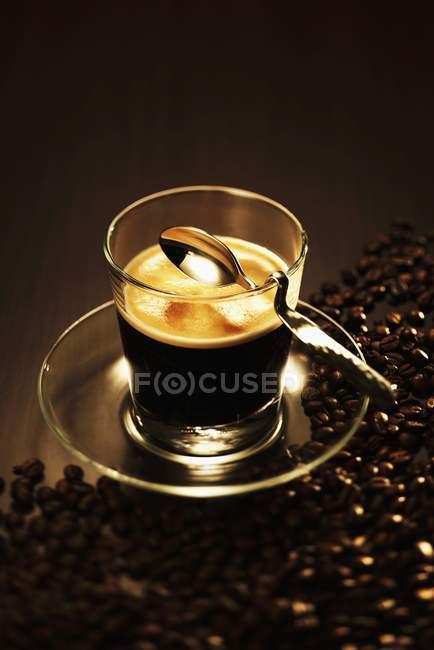 Espresso in glass cup — Stock Photo