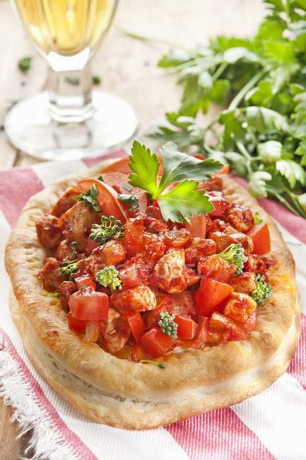 Mini puff pastry pizzas — Stock Photo
