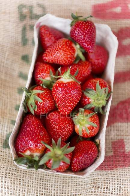 Strawberries in paper punnet — Stock Photo
