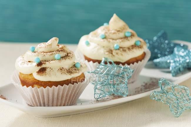 Cupcakes decorados para o Natal — Fotografia de Stock