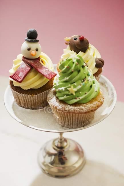 Vários cupcakes de Natal — Fotografia de Stock