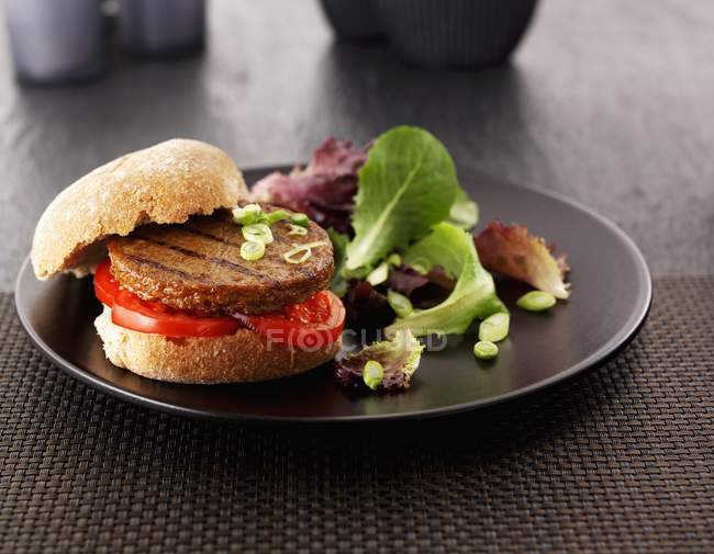 Гамбургер с помидорами и салатом — стоковое фото