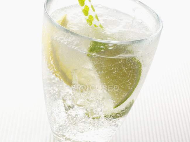 Closeup view of sparkling mineral water with ice cubes, lemon and lime wedges — Stock Photo