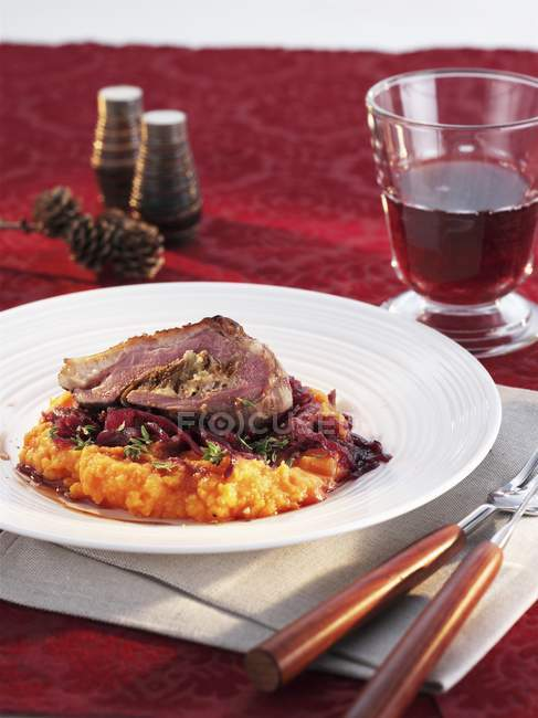 Stuffed goose breast for Christmas — Stock Photo