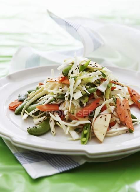 RAW овочевий салат з білокачанна і яблуко на білий плита — стокове фото