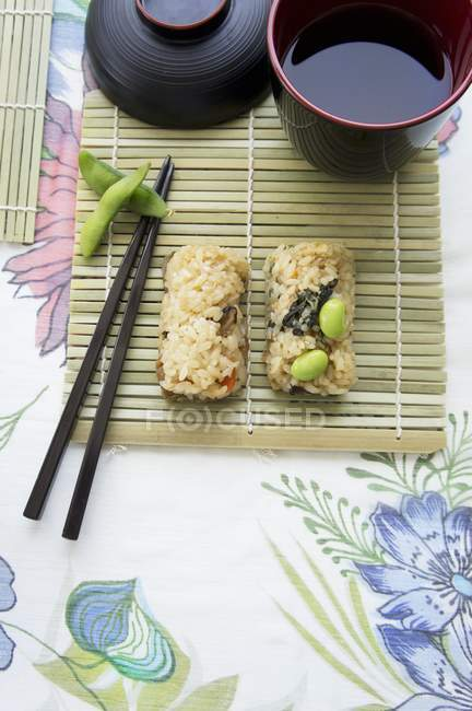 Sushi with soya beans — Stock Photo
