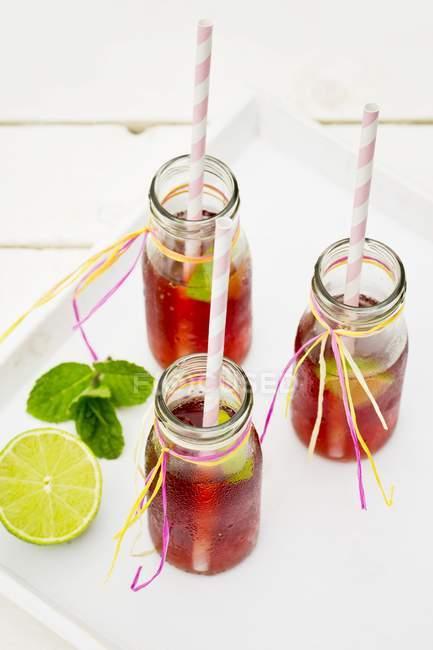 Bottiglie di tè freddo con lime e menta piperita — Foto stock