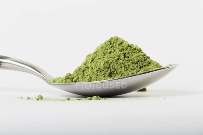 Cuillère à soupe de poudre d'herbe de blé — Photo de stock