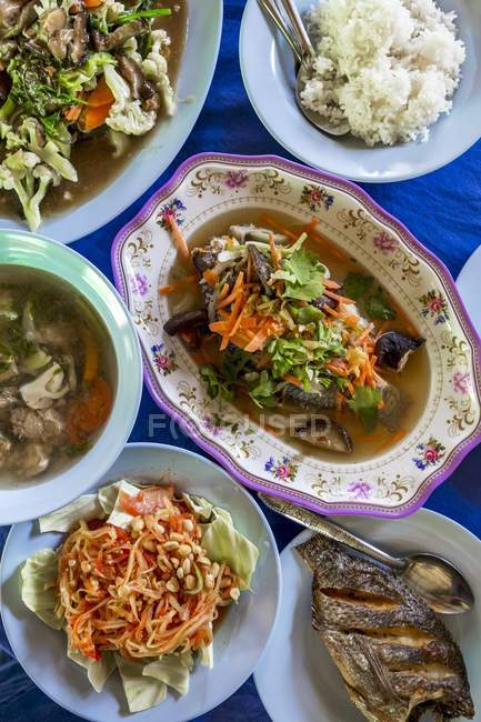 Thai-Gerichte mit Gemüse und Reis — Stockfoto