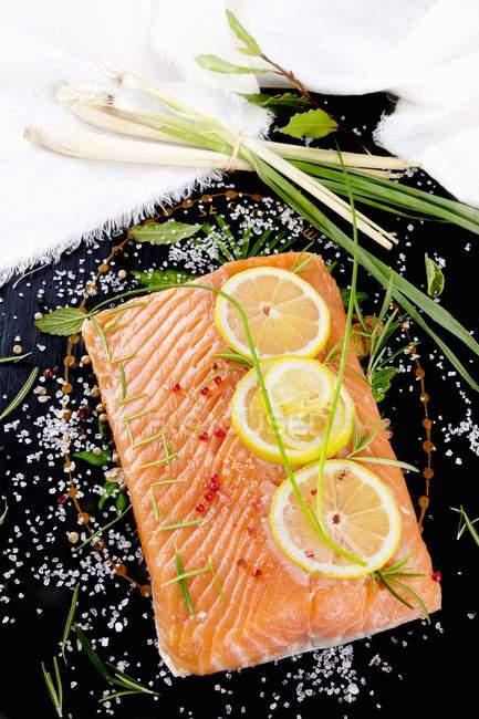 Філе лосося скибочками лимона — стокове фото
