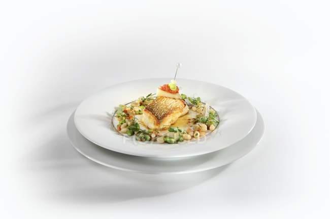 Pesce fritto con capesante — Foto stock