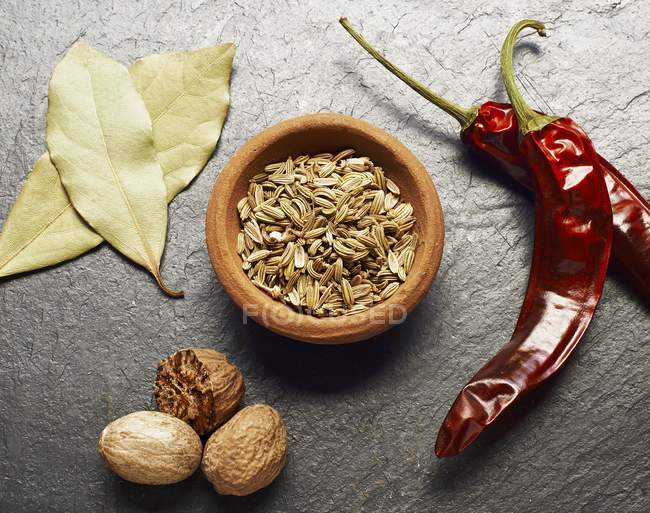 Fennel seeds and dried chili peppers — Stock Photo