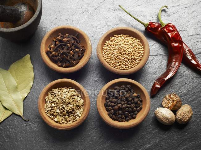 Clavos, semillas de mostaza, hinojo, pimienta, nuez moscada, chile y hojas de laurel - foto de stock