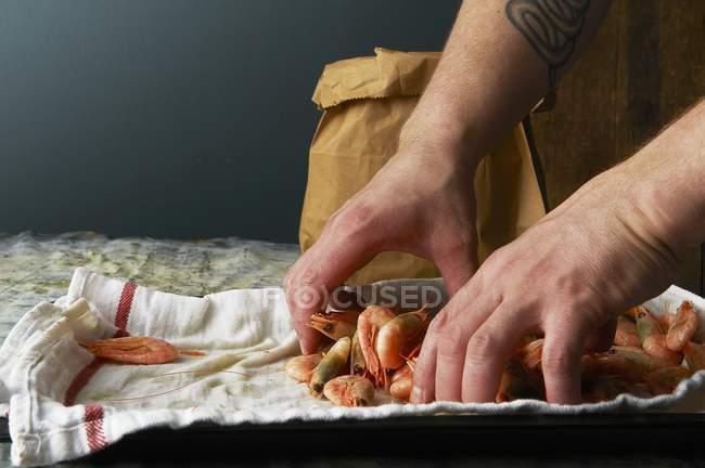 Borsa di carta chef ripieno con gamberi — Foto stock