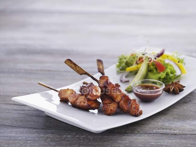 Hähnchen-Spieße mit pikanter sauce — Stockfoto