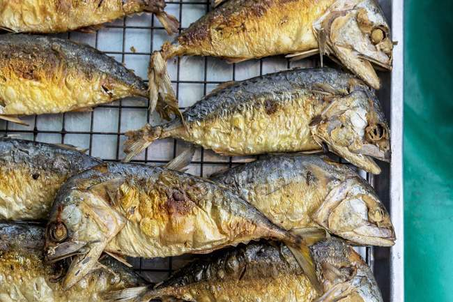 Fried fish on wire rack — Stock Photo