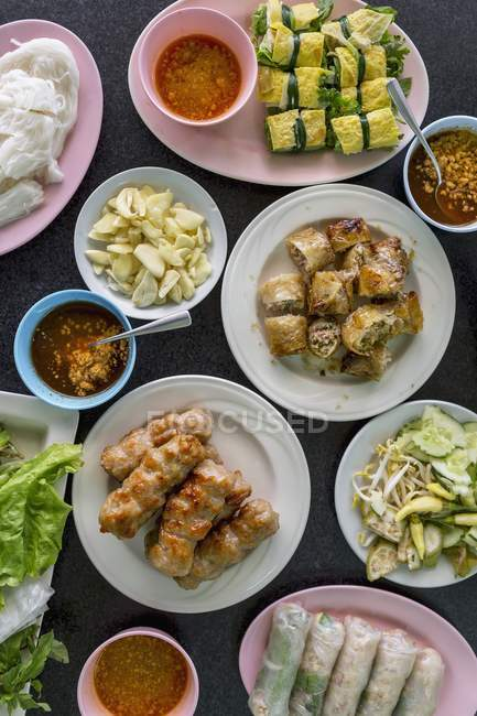 Pork dumplings and spring rolls — Stock Photo