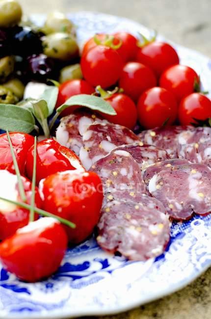 Блюдо з нарізаний антипасти ковбаси та помідорів чері — стокове фото