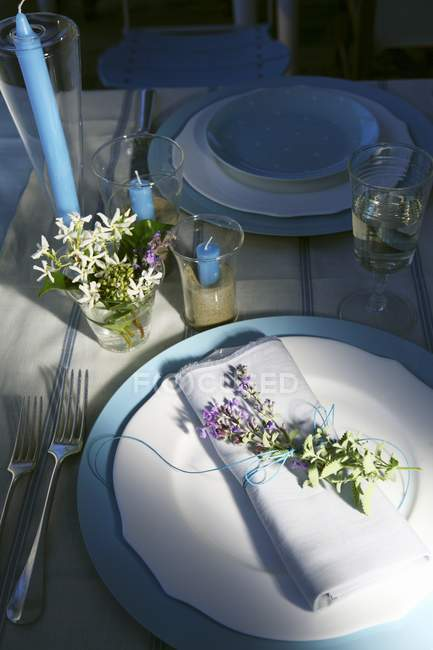 Elevated view of a table laid in blue and white and decorated with flowers — Stock Photo